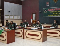Danrem 043/Garuda Hitam Ikuti Rakor Program Serbuan Vaksinasi yang Dipimpin Panglima TNI Secara Virtual