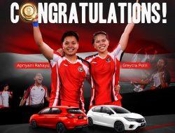 Honda Indonesia Hadiahkan Mobil Untuk Greysia dan Apriyani