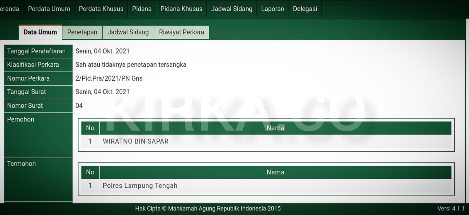 Wiratno Praperadilankan Polres Lampung Tengah